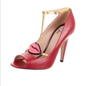 Gucci Molina Lips Leather Pump Red Size 36.5
